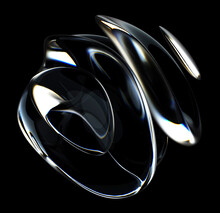3d Render Of Abstract Art 3d Sculpture With Surreal Alien Dark Flower In Curve Wavy Spherical Biological Lines Forms In Glass And Matte Black Rubber Material On Isolated Black Background