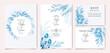 Elegant wedding invitation template set with watercolor leaves frame and border decoration.botanic illustration for card composition design.