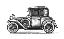 Retro Car Drawn In Engraving Style. Vintage Vehicle, Transport Vector Illustration