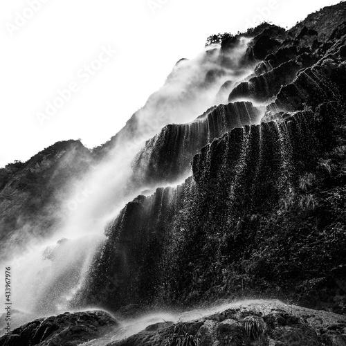 Wasserfall Schwarz Weiß Wall mural