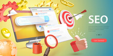 3D Vector Conceptual Illustration Of SEO - Search Engine Optimization, Website Ranking, Keyword Research