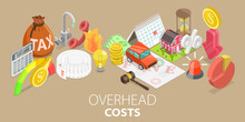 3D Isometric Flat Vector Conceptual Illustration Of Costs Overhead, Business Operating Expense