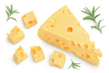 Piece Of Cheese Isolated On White Background With Clipping Path. Top View. Flat Lay