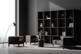 Fototapeta Kawa jest smaczna - Living room interior with two armchairs, grey sofa, concrete floor. Concept of cozy meeting reading place. Panoramic window. 3d rendering