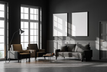 Living Room Interior With Two Empty White Posters On Wall, Grey Sofa, Armchairs Concrete Floor. Concept Of Cozy Meeting Place. Panoramic Windows. Mock Up. 3d Rendering