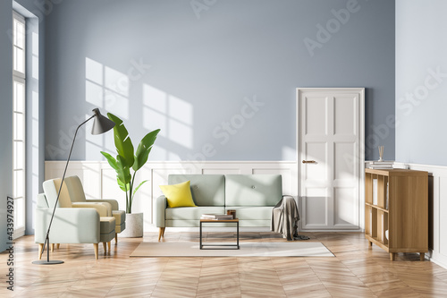 Living room interior with sofa, bookshelf wooden floor. Concept of cozy meeting reading place. Panoramic window. 3d rendering