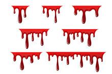 Blood Drip 3d Set. Halloween Bloodstain Isolated White Background. Splatter Stain. Horror Drop Flow. Red Scare Ink. Blot Texture. Colorful Splash. Stream Bleeding. Flowing Liquid Vector Illustration