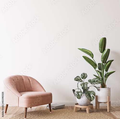 Pink armchair and green plants bright modern room on minimal empty background, wall mockup, 3d render