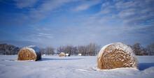 Winter Farm Field In Snow Hay Bales