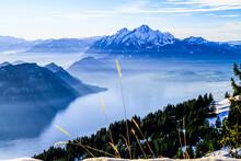 Mount Pilatus Towering Over Foggy Misty Vierwaldstattersee, Lake Lucern, Switzerland
