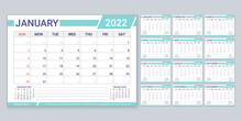 Calendar 2022 Year. Planner, Calender Template. Week Starts Sunday. Vector. Yearly Stationery Organizer With 12 Month. Table Schedule Grid. Horizontal Monthly Diary Layout. Color Simple Illustration.