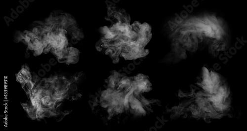 Foto Fog or smoke set isolated on black background
