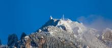Mountain Peak In Winter And Clear Blue Sky. Ceahlau, Romania