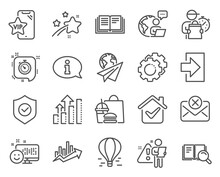 Technology Icons Set. Included Icon As Air Balloon, Settings Gears, Login Signs. Education, Smile, Vip Phone Symbols. Growth Chart, Security Shield, Reject Mail. Analysis Graph, Timer. Vector