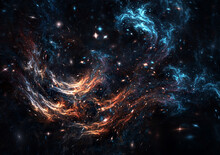 Abstract Cosmic Cloud, Stars Of A Planet And Galaxy. Fantasy Color Background With Lighting Effect For Creative Design.Fractal Artwork
