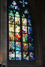 Stained Glass Window In The Church. Beautiful Stained Glass Windows Decorate A Church