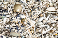Old Silverware, Many Forks And Spoons