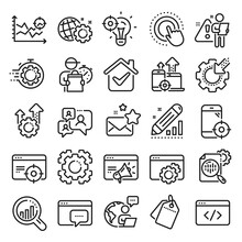 Seo Line Icons. Website Stats, Target And Increase Sales Signs. Traffic Management, Social Network And Seo Optimization Icons. Gear Wheel, Search Engine And Increase Mobile Sales. Vector