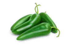 Jalapeno Pepper Isolated On White Background. Green Chili Pepper With Clipping Path And Full Depth Of Field.