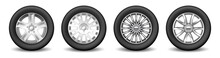 Set Of Car Rim Spare Wheels With Alloy Disks And Protective Rubber Tires. Transport Wheel And Tuning
