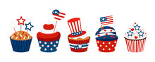 4th Of July Cupcakes Set Sweets Food. USA Happy Independence Day Icing Muffin With Red And Blue Stars, Flag, Cylinder Hat. Flat Design Cartoon Holiday Dessert Vector Clip Art Illustration.