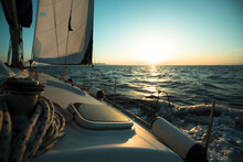 An Sail Luxery Boat In Regatta During Sunset.