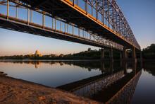 Bridges Cross Missouri River Into Jefferson City, Missouri