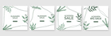 Summer Sale Green Floral Watercolour Vector Poster, Banner Template. Season Backgrounds. Tropical Frame With Sand Beach, Water, Leaves And Fruits