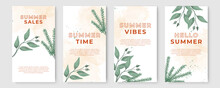 Summer Stories Concept For Social Media With Floral. Bright Summer Banner Set With Palm Branch, Tropical Leaves. Story Concept. Product Catalog, Discount Voucher, Advertising.