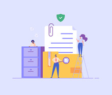 People Standing Next To A File Storage Box. Concept Of Document Archive, Data Storage, Safe Storage, File Archiving And Organization, Digital Database. Vector Illustration In Flat Design