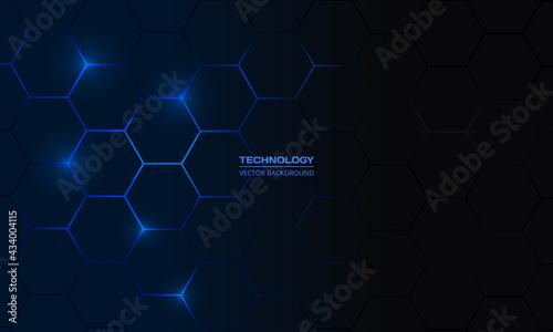 Fotografia Dark blue hexagonal technology vector abstract background