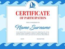 Yachting Club Regatta, Marine Sailing Victory Certificate. Yachts Or Sailboats Sailing On Sea Waves Vector. Competitive Sailing Championship, Regatta Racing Winner, Participation Diploma Template