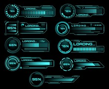 HUD Loading Progress Bars, Sci Fi Interface, Vector Digital Futuristic Elements For Dashboard, Technology Style Neon Glowing Ui Navigation For Game Menu Design Or Web Site Data Load, Technology Theme