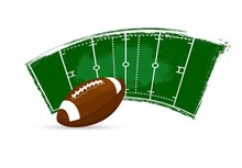 Rugby Ball, American Football Banner Or Sport Poster, Vector Field Green Paint Background. Rugby Or American Football And Soccer League Or Team Championship And Championship Cup Grunge Flag