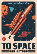 Space Planets And Spaceship Vector Design Of Astronomy And Space Travel Retro Poster. Rocket With Shuttle Orbiter Floating Through Universe Galaxy, Moon, Saturn, Mars And Neptune, Stars And Meteors