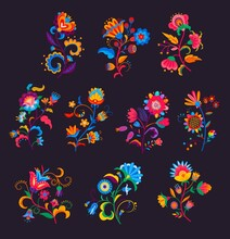 Mexican Flowers And Florals Vector Set Of Bright Colorful Blooming Plants With Mexico Ethnic Or Folk Ornaments. Blossoms, Flourishes And Leaves Of Mexican Flowers, Embroidery Pattern Or Textile Design