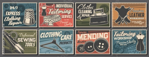Fotografie, Obraz Tailoring service and sewing tools retro vector posters