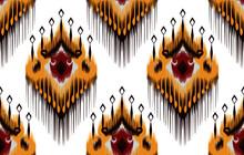 Tribal Ikat Seamless Pattern Design. Aztec Fabric Carpet Mandala Ornament Native Boho Chevron Textile Decoration. Geometric Vector Illustrations Background.