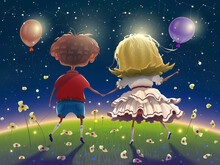Friends Couple Are Walking Among Green Grass And Flowers Over Dark Night Starry Sky And. Cartoon Drawing Of Kids On A Walk. High Detailed Vector Illustration.