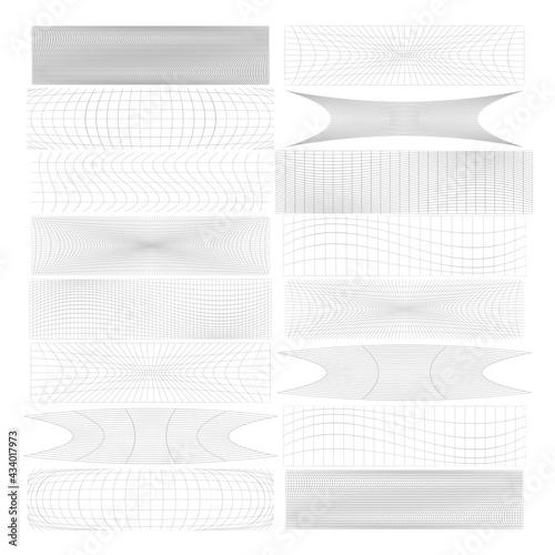 Obraz na plátne Set of rectangles w distort, deform effect vector illustration