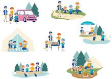 キャンプをする家族のイラストセット