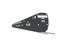 Silhouette Of Double Decker Train Pulled By Electric Diesel Locomotive In Perspective View.
