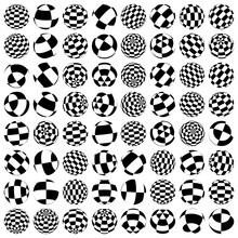 Set Of Spheres, Orbs And Globes With Different Rotation And Surfaces Of Squares. Checkered, Chequered Balls