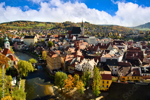 Fotomural Panoramic view from the heights of the city Cesky Krumlov Czech Republic On the afternoon of autumn, the old town in europe and the world heritage site is famous and popular with tourists