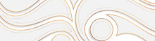 Grey And Golden Wavy Pattern Abstract Background. Vector Luxury Banner Design