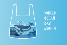 World Oceans Day Concept, The Blue Whale In A Plastic Bag. Help To Protect Animals And The Environment, Paper Illustration, And 3d Paper.