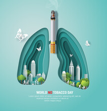 World No Tobacco Day, Banner Design, A Lung Shape With Many People, City And Cigarette, Paper Illustration, And 3d Paper.