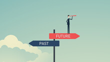 Past And Future Concept, Business Alternative , Past, And Future. Businessmen Confidently Choose To Move Forward To The Future