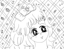 Cartoon Girl Children's Coloring Page Illustration
