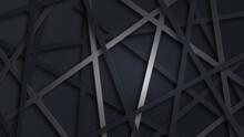 Black Abstract Background Vignette Illustration. Geometric Backdrop. Modern Presentation 3d Concept